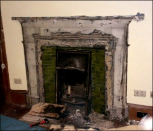 Fireplace mantle removed