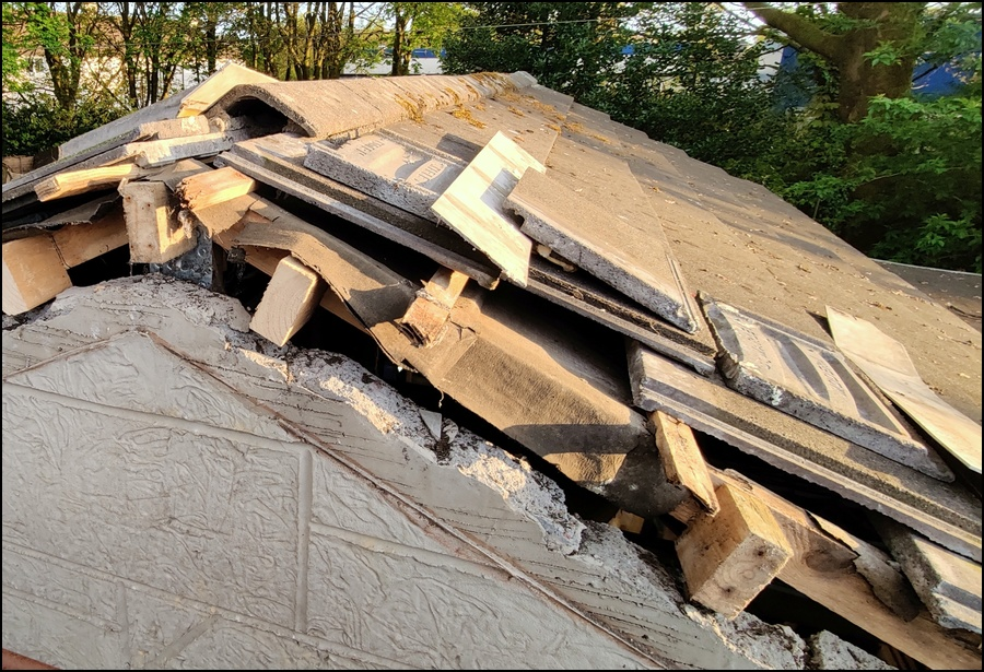 Roof tiles removed